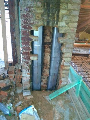 indeklų montavimas į senus kaminus